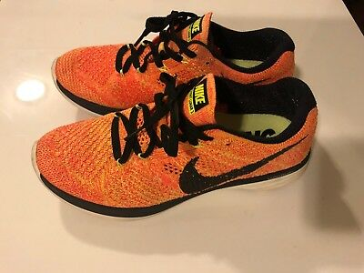 36de72c0f65f0 Nike Womens Flyknit Lunar 3 Training Shoes SZ-6.5 Mango Black Crimson 698182
