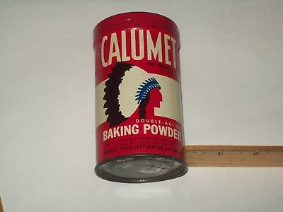 Vintage-Tin-Can-CALUMET-Baking Powder-Advertising-Cooking-Empty