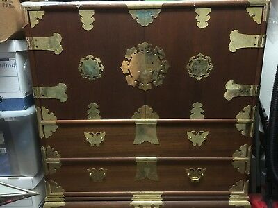 """Antique brown wooden korean chest with brass hinges 19"""" x 42"""" x 42"""""""