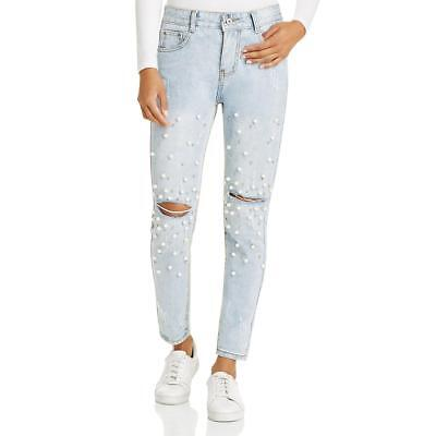 Sadie & Sage Womens Embellished Distressed Light Wash High-Waist Jeans BHFO 8296