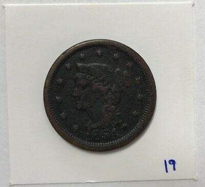1854 United States Braided Hair Large Cent