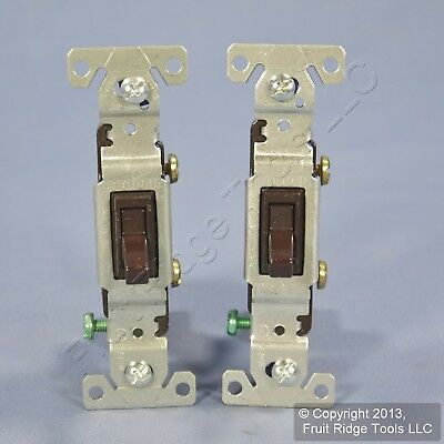 2 Cooper Brown Toggle ON/OFF Light Switches Single Pole 15A 120V Bulk 1301-7B