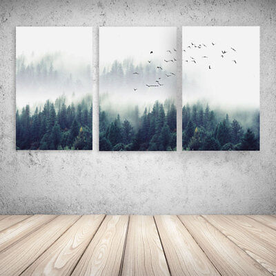 Nordic Style Forest Wall Art Canvas Poster Decor Printed Decal Picture Unframed