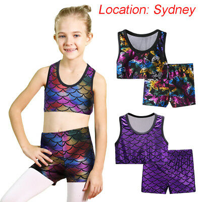 AU Warehouse Girls Gymnastic Set Leotards Dance 2PC Cheerleading Crop Top Shorts