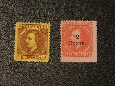Sarawak Stamps SG 2 MNG issued 1871 Perf 11,SG 33 MNG 1899 opt T15 2c on 12c.