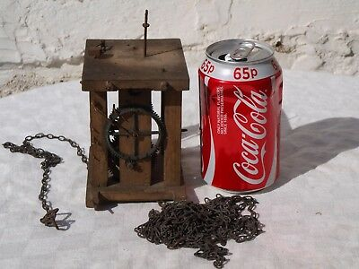 Antique Wooden Caged Clock Mechanism With Chain - As Is - Spares Or Repairs Only