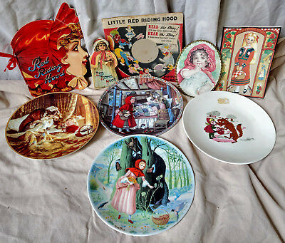 Little Red Riding Hood Large Lot Books Collector's Plates Knowles Limoges Framed