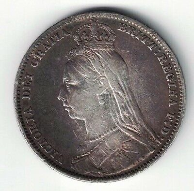 Great Britain 1889 One Shilling Queen Victoria Sterling Silver Coin Toned