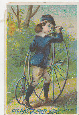 C9074   Victorian Trade Card Lautz Bros Soap Unicycle  Bicycle