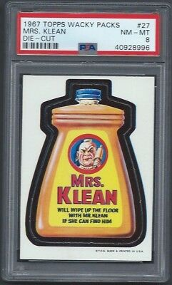 Wacky Packages 1967 Die-Cut # 27 Mrs Klean Psa 8 Nmmt