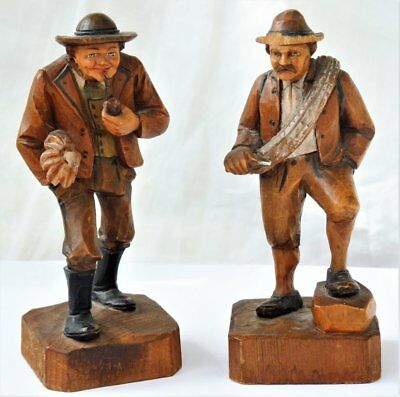 Two Vintage Carved Wooden Men Figures Anri / Black Forest ~ No Reserve