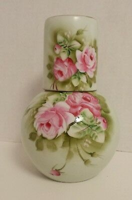 Vintage Lefton Green Heritage Roses Hand Painted Tumble Up Bedside Water Carafe