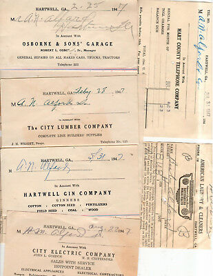 Hartwell, Ga- Lot of 17 invoices from 1947 to A N Alfred Store and individual