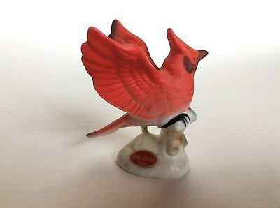 Vintage Bone China Cardinal Red Bird Porcelain JAPAN Miniature Small