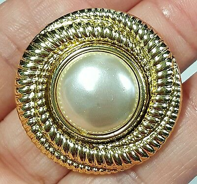 Vtg Jewelry Scarf Brooch Gold Tone Metal Faux Pearl Classy Design  #1782