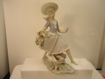 """Lladro - Girl with dog puppy and basket of flowers, matte finish.  10 1/2"""" mint"""