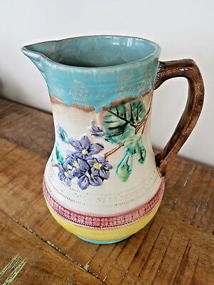 Antique Majolica Art Pottery Large Floral Water Pitcher / Jug