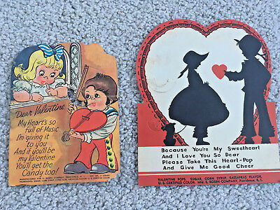 2 VALENTINE Vintage 1940s CANDY VALENTINES add your own suckers CARDS ANTIQUE