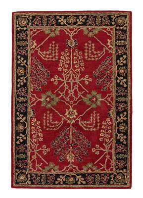 Arts & Crafts William Morris Style Hand Tufted Wool Red Area Rug *FREE SHIPPING*