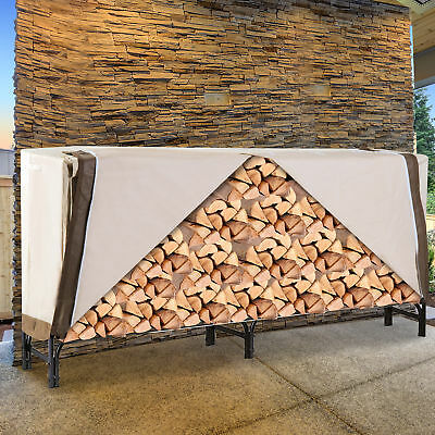 Outsunny 8.5FT Waterproof Outdoor Firewood Log Rack Patio Furniture Cover -