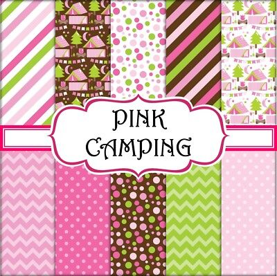 PINK CAMPING SCRAPBOOK PAPER - 10 x A4 pages