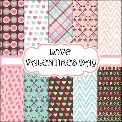 LOVE VALENTINE'S DAY SCRAPBOOK PAPER - 10 x A4 pages
