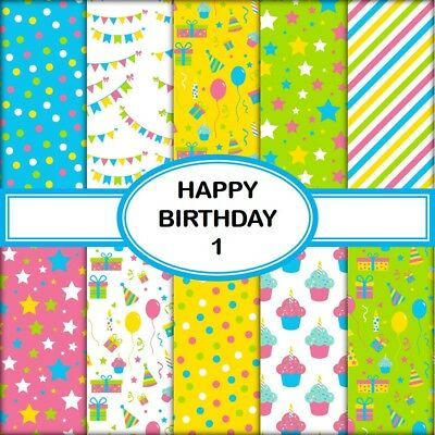 HAPPY BIRTHDAY 1 SCRAPBOOK PAPER - 10 x A4 pages