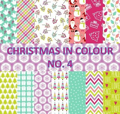 CHRISTMAS IN COLOUR 4 SCRAPBOOK PAPER - 14 x A4 pages