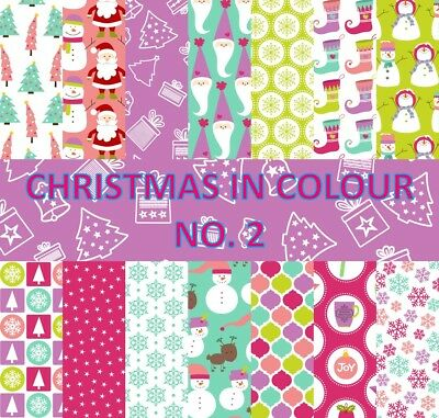 CHRISTMAS IN COLOUR 2 SCRAPBOOK PAPER - 14 x A4 pages