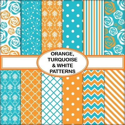 ORANGE, TURQUOISE & WHITE PATTERNS SCRAPBOOK PAPER - 10 x A4 pages