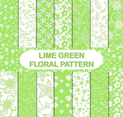 LIME GREEN FLORAL PATTERN SCRAPBOOK PAPER - 14 x A4 pages