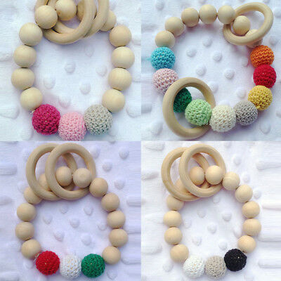 1Pc Wooden Teether Silicone Beads Teething Bracelet Chewable For Infant Baby