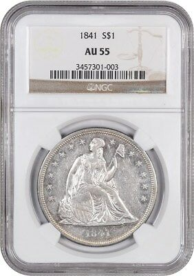 1841 $1 NGC AU55 - Low Mintage Date - Liberty Seated Dollar - Low Mintage Date
