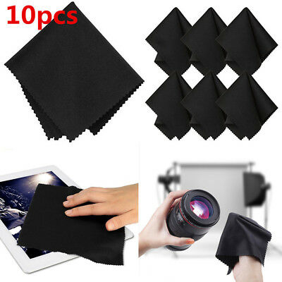 10Pcs/Pack Black Premium Microfiber Cleaning Cloths for Camera Lens TV Screen JP