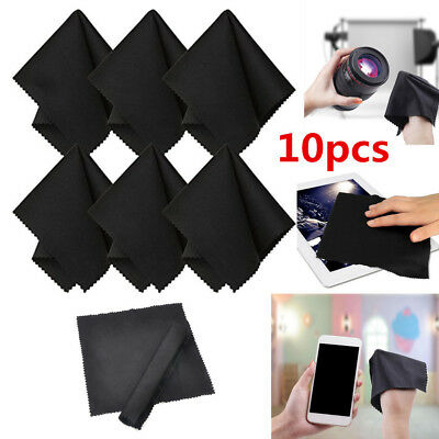 10 x Premium Black Microfiber Cleaning Cloths for Camera Lens Glasses TV Screen