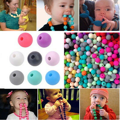 20Pcs/Set Baby BPA Free Silicone Teething Necklace Nursing Teether Round Beads