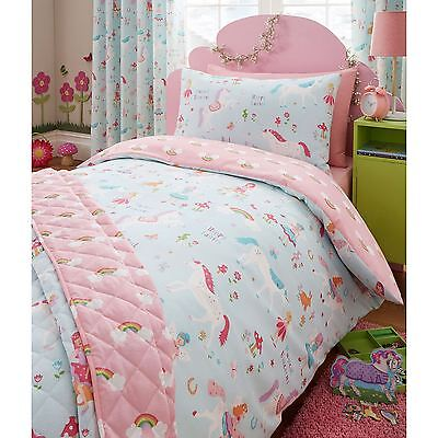 Magical Unicorn Single Duvet Cover Set Unicorn Fairy Bedding Quilt