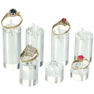 7 Clear Acrylic Ring Display Stands Jewelry Riser Unit