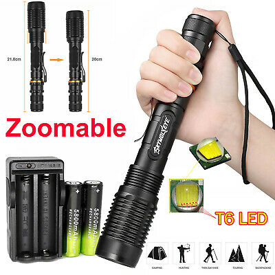 Zoomable 50000 Lumens High Power T6 LED Flashlight Torch 18650 Battery Charger