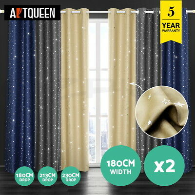 Art Queen 2x Star Blockout Blackout Curtains Eyelet Room Darkening 180cm/ 3 CLR