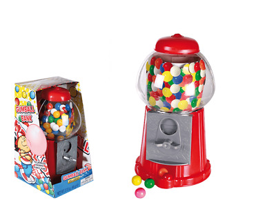 Gumball Dispenser Machine & Sweets - Toy Bubble Gum Coin Operated Bank New