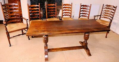 A Victorian Oak Refectory Table & 6 Ladder Back Whicker Base Chairs 2 Carvers