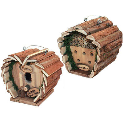 Hanging Wooden Nesting Box Insect Bee House Hotel Garden Bird Outdoor New