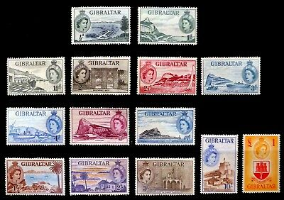 GIBRALTAR 1953 Complete to £1 SG145-158 with Some Toning Cat £180 NK192