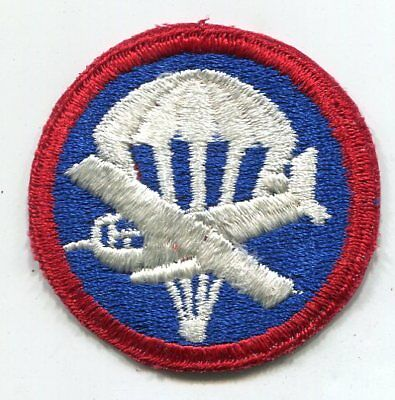 Original WWII US Army para-glider patch for the overseas cap cut edge