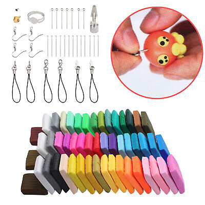 50 Mixed Color Oven Bake Fimo Polymer Soft Clay Moulding Modelling DIY With Tool
