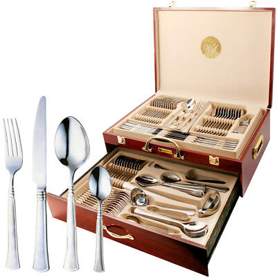 95Pc Stainless Steel Cutlery Canteen Xmas Gift Set Gold Dining Table Wooden Case