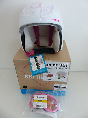 Alpina Carat Junior Set Happy Pinguin Skihelm inklusive Skibrille Ruby 51-55cm