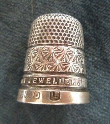 Antique solid silver thimble - James Walker advertising - 1928