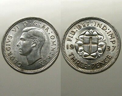 KING GEORGE VI SILVER THREEPENCE___Great Britain___DATED 1937___St George Shield